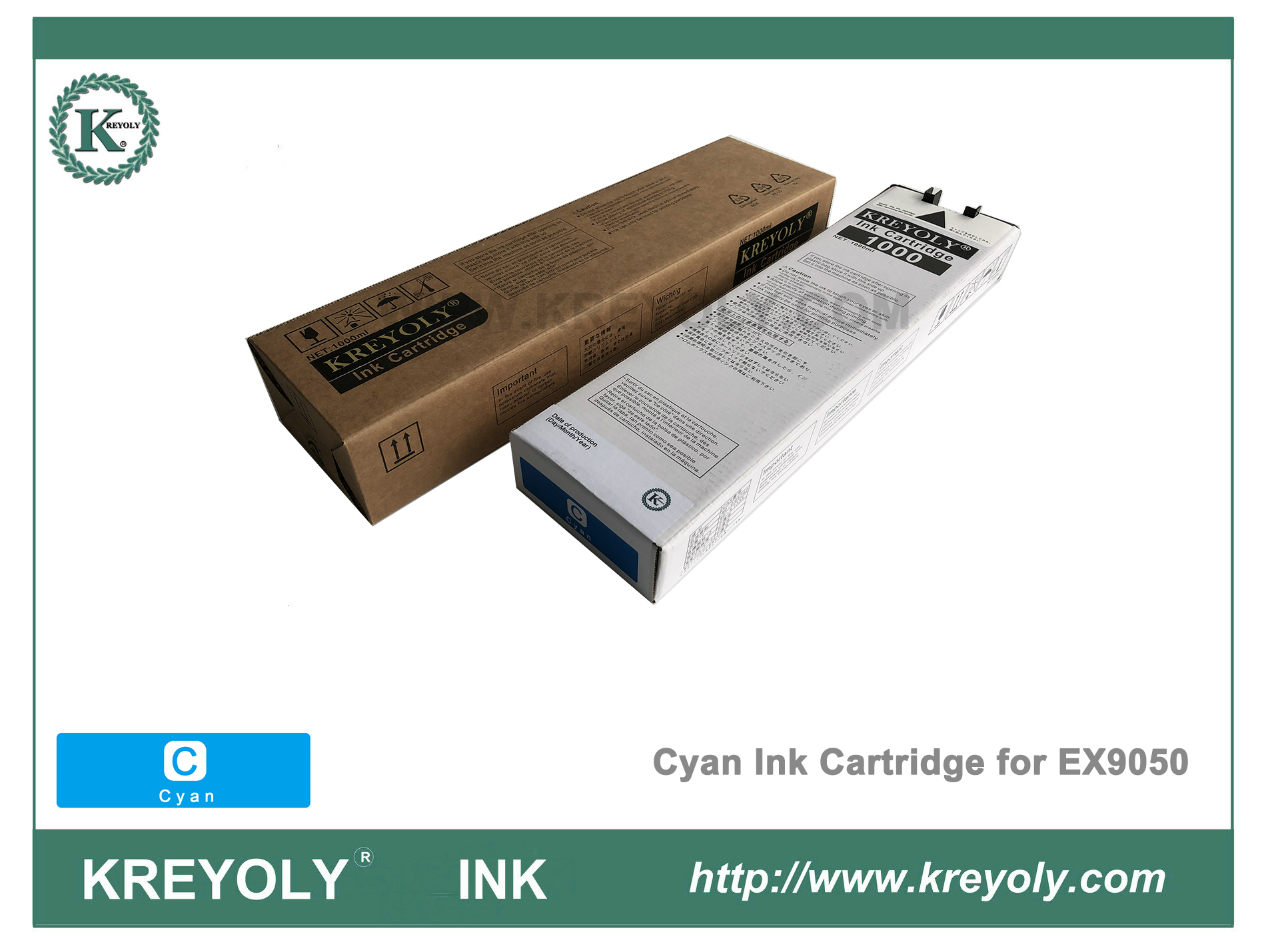 Cyan Color Ink Cartridge for Riso ComColor Orphis EX9050 InkJet Machine